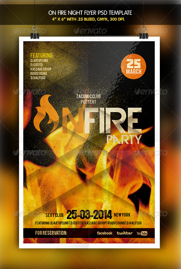GraphicRiver On Fire Night Party Flyer 6333865