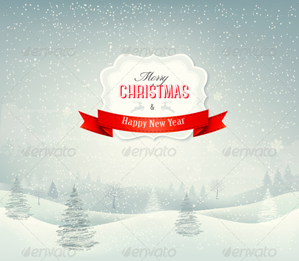 GraphicRiver Holiday Christmas Background with Winter Landscape 6383866