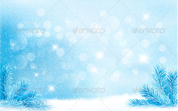 GraphicRiver Blue Christmas Background with Tree Branches 6383873