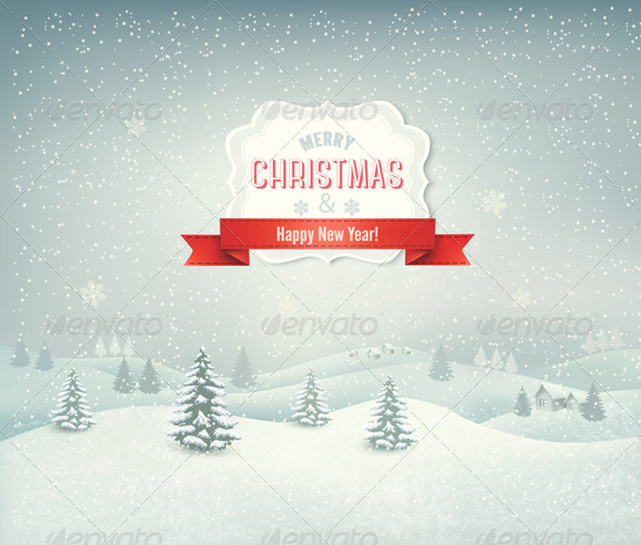 GraphicRiver Holiday Christmas Background with Winter Landscape 6383920