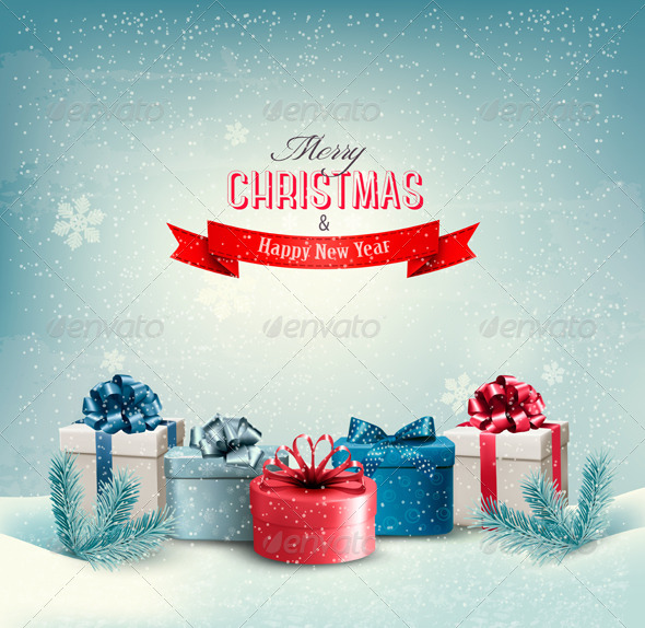 GraphicRiver Christmas Holiday Background with Presents 6383926