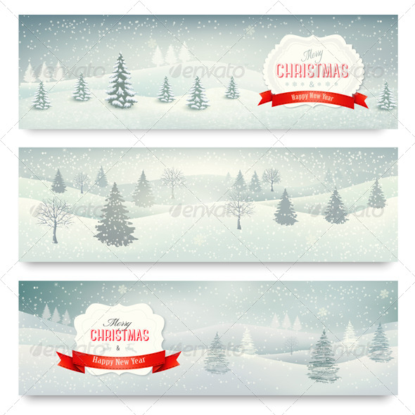 GraphicRiver Three Christmas Holiday Landscape Banners 6384029