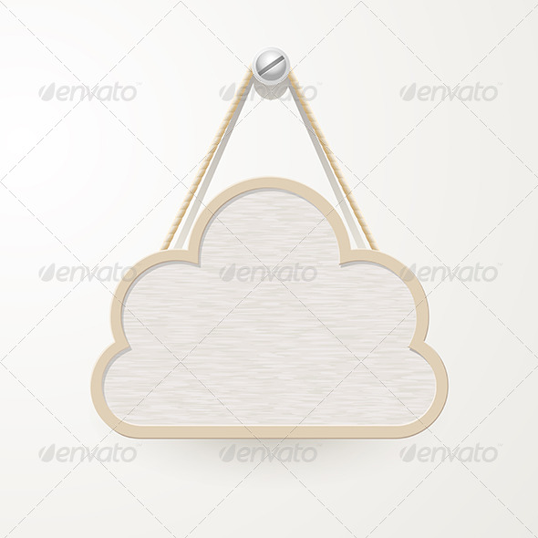 GraphicRiver Cloud Wooden Plate Hanging a Nail 6384085