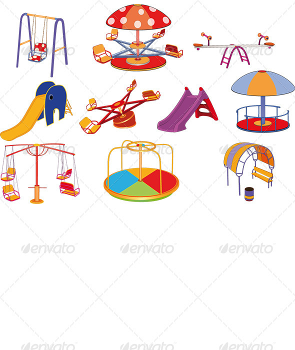 GraphicRiver Children s Swing Cartoon Set 6384377