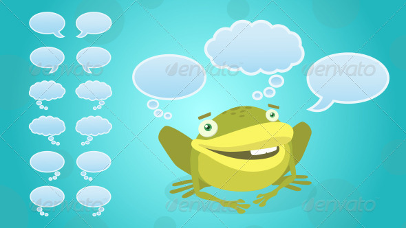 GraphicRiver Frog with Face Expressions and Speech Bubbles 6384633