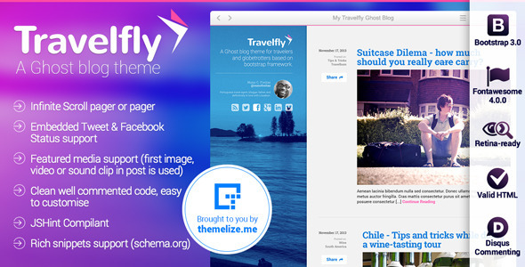 ThemeForest Travelfly Ghost Theme 6381450