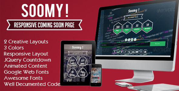 Soomy! Responsive Coming Soon Page