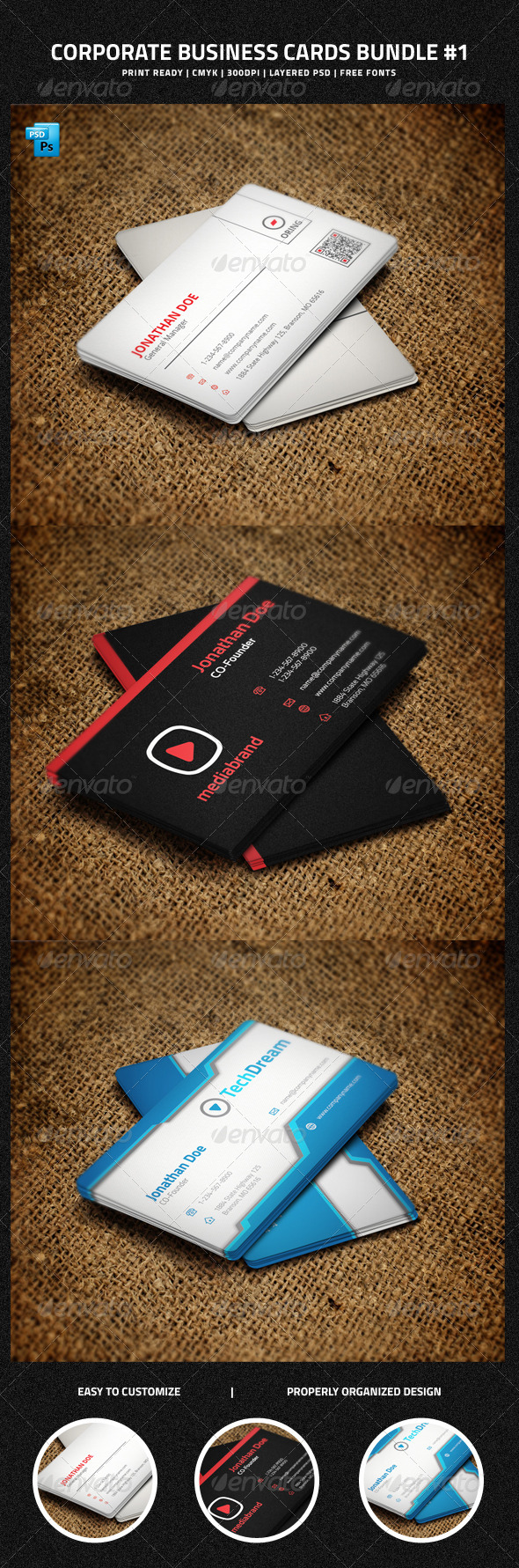 GraphicRiver Corporate Business Cards Bundle #1 6385613