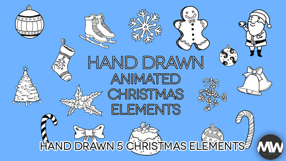 Hand Drawn 05 Christmas Holiday Pack of 31