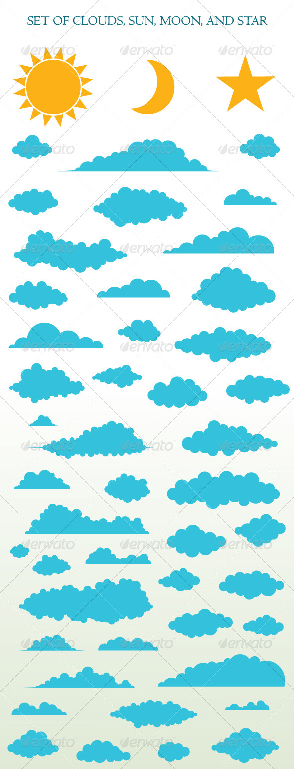 GraphicRiver Set of Clouds Sun Moon and Star 6385986