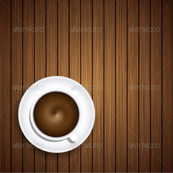 GraphicRiver Vector Coffee on Wooden Background 6386265