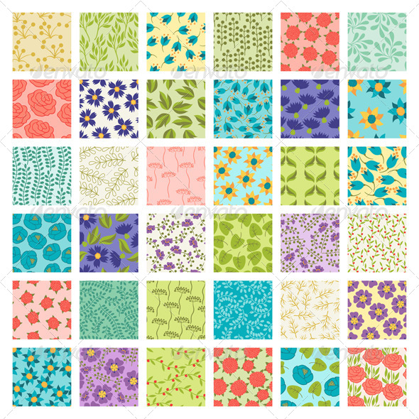 GraphicRiver Set of 36 Seamless Floral Patterns 6386593