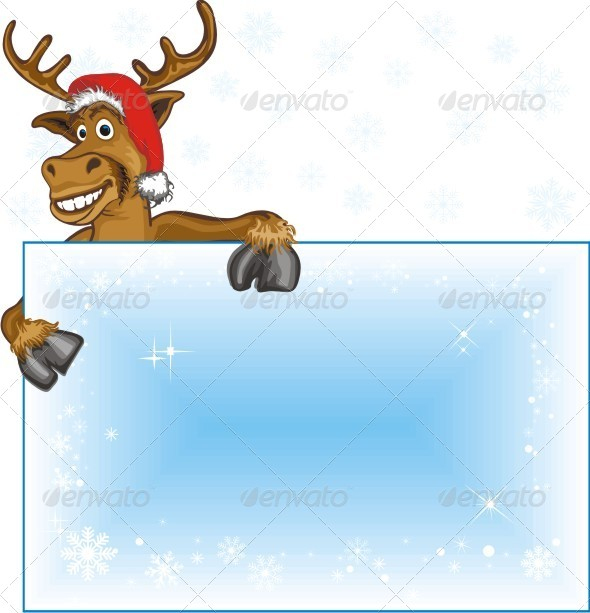 GraphicRiver Christmas Reindeer With Blank Page 6386594