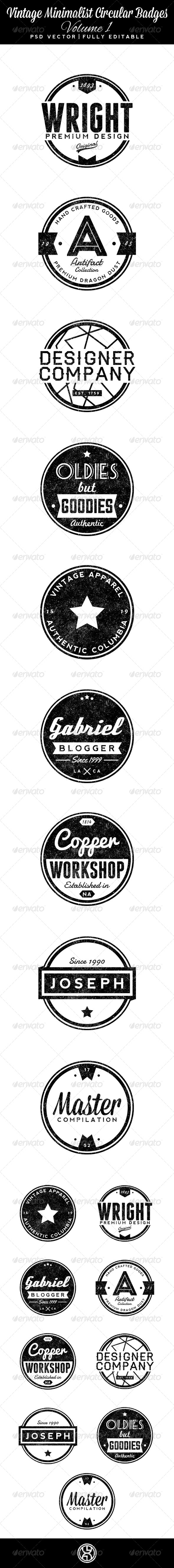 GraphicRiver Vintage Minimalist Circular Badges Volume 1 6386915