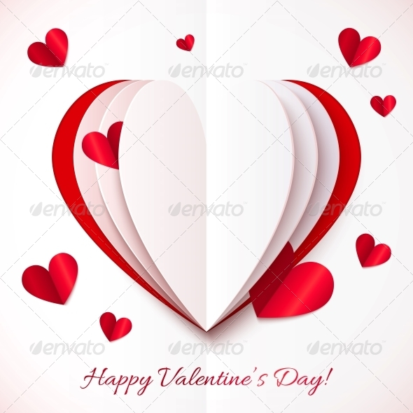 GraphicRiver Red and White Cutout Paper Heart 6387193