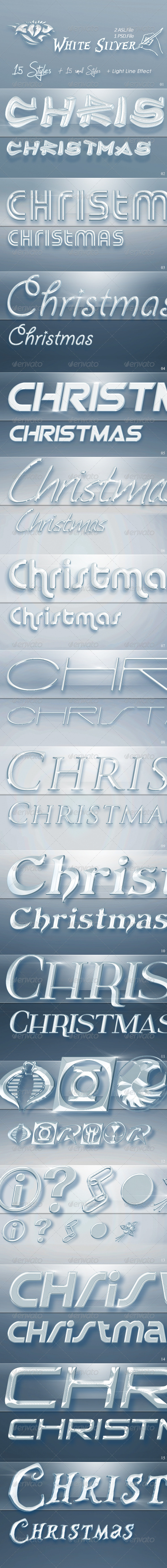 GraphicRiver 15 White Silver Text Styles for Photoshop Christm 6387295