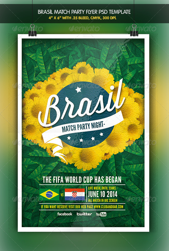 GraphicRiver Brazil Match Party Brazil 2014 Flyer 6348247