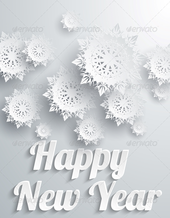 GraphicRiver Happy New Year Background with Snowflakes 6387647