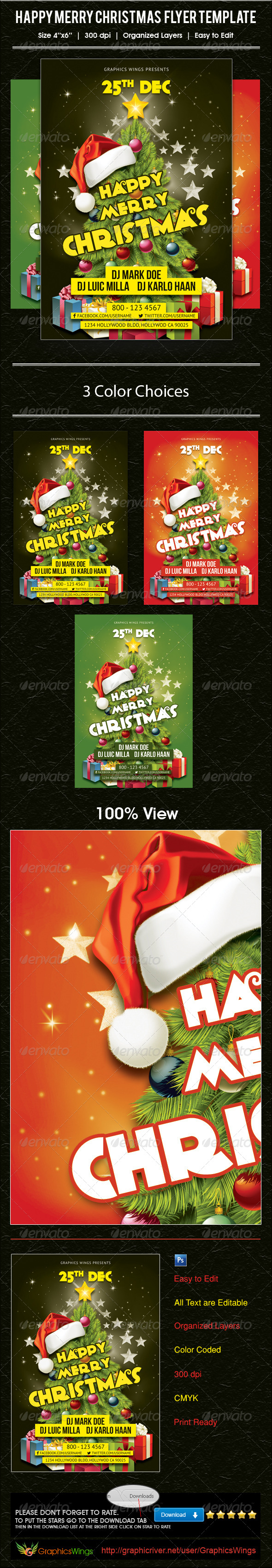 GraphicRiver Happy Merry Christmas Flyer Template 6387665