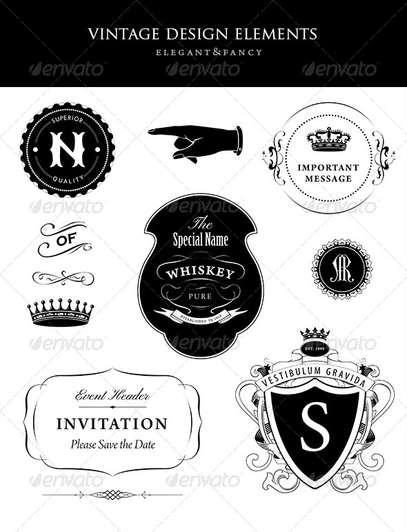 GraphicRiver Vintage Design Elements Collection 6387667