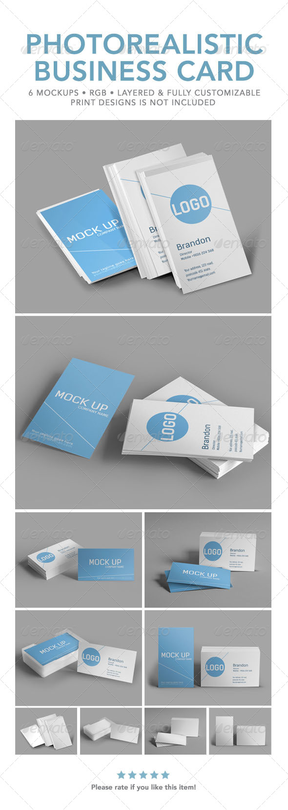 GraphicRiver Photorealistic Business Card Mock Up 6387791