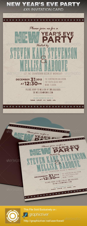 GraphicRiver Retro New Year Party Invite Card Template 6387909