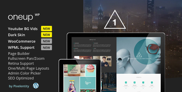 01 preview.  large preview - OneUp - One Page Parallax Retina WordPress Theme
