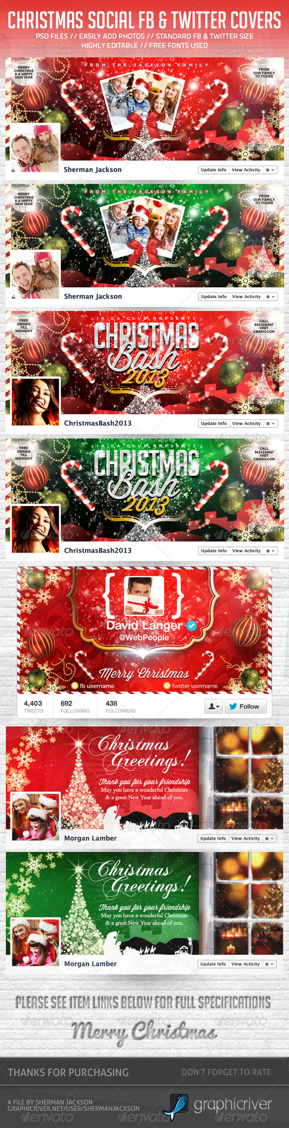 GraphicRiver Christmas Social Facebook & Twitter Pack Bundle 6388602