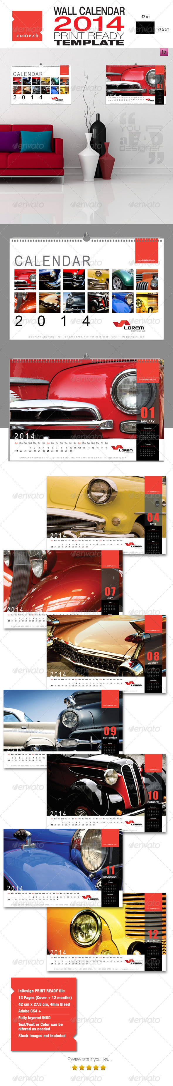 GraphicRiver Corporate Wall Calendar 2014 Landscape 6349461