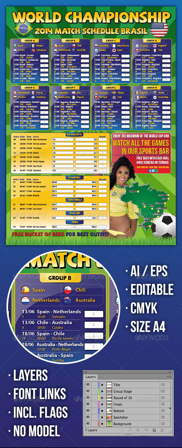 GraphicRiver Brazil Match Schedule Championship Soccer 2014 6346118