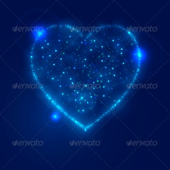GraphicRiver Love Heart Background from Bright Stars 6389070