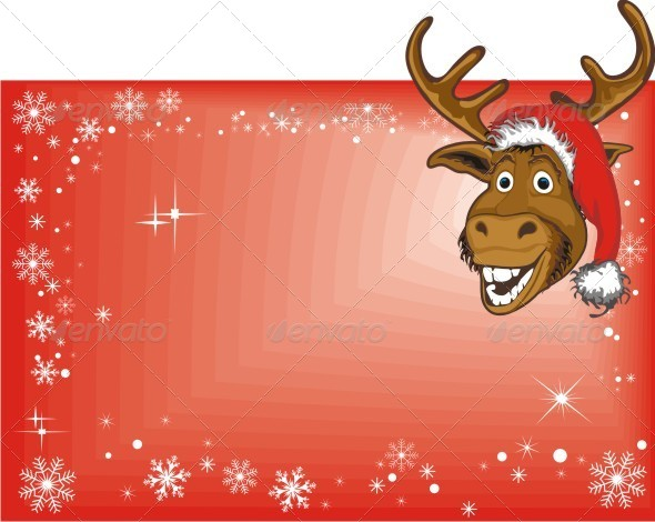 GraphicRiver Christmas Reindeer on Blank Sign 6386899