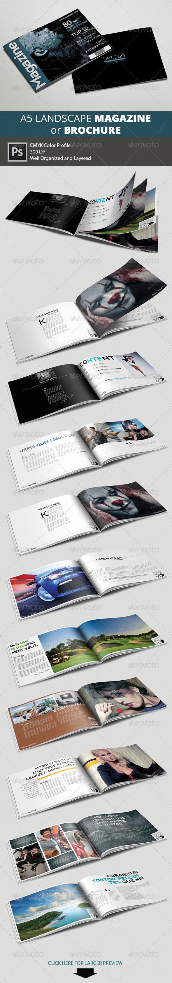 GraphicRiver A5 Landscape Magazine Multipurpose 6389521