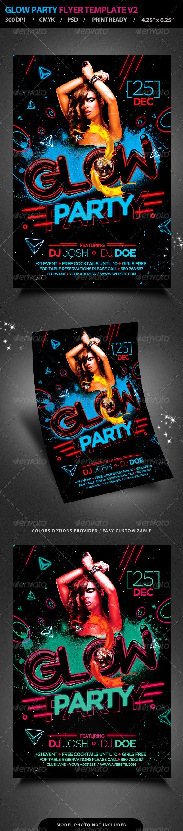 Glow Party Flyer Template V2  - Clubs & Parties Events