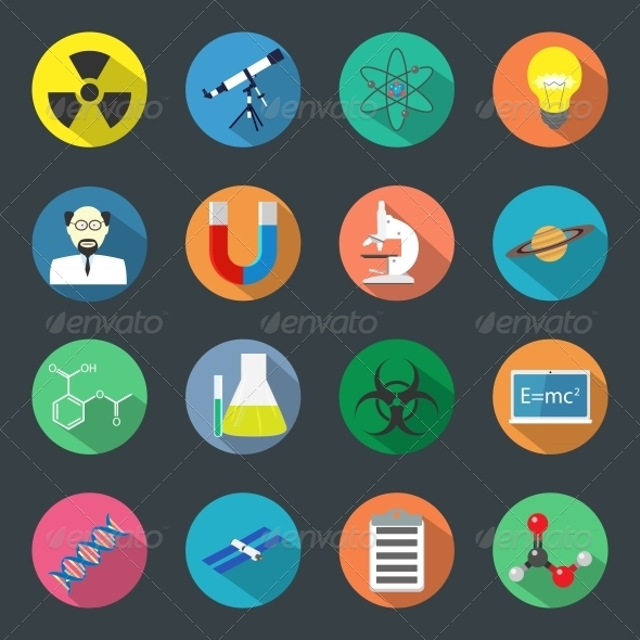 GraphicRiver Science Flat Icons Set 6389734