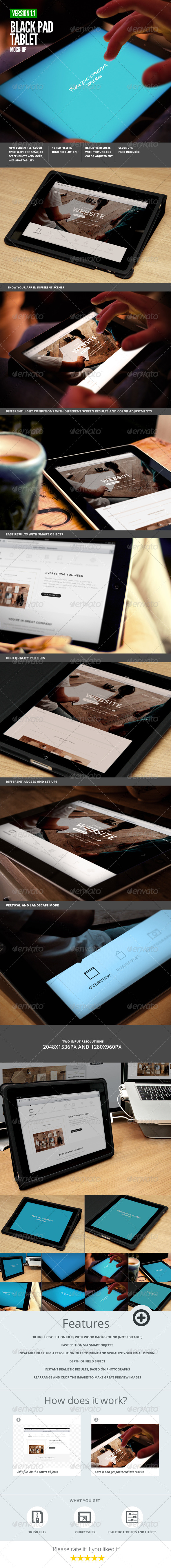 Black Pad | Tablet App UI Mock-Up - Mobile Displays
