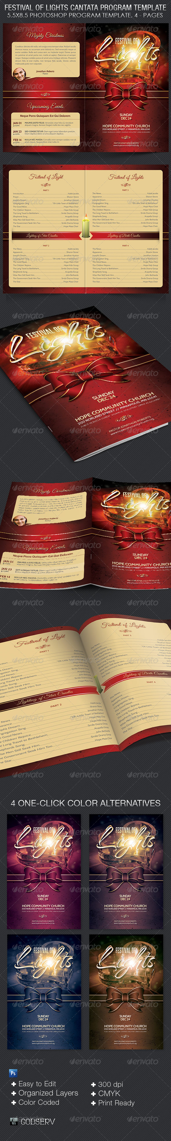 GraphicRiver Festival of Lights Christmas Program Template 6390403
