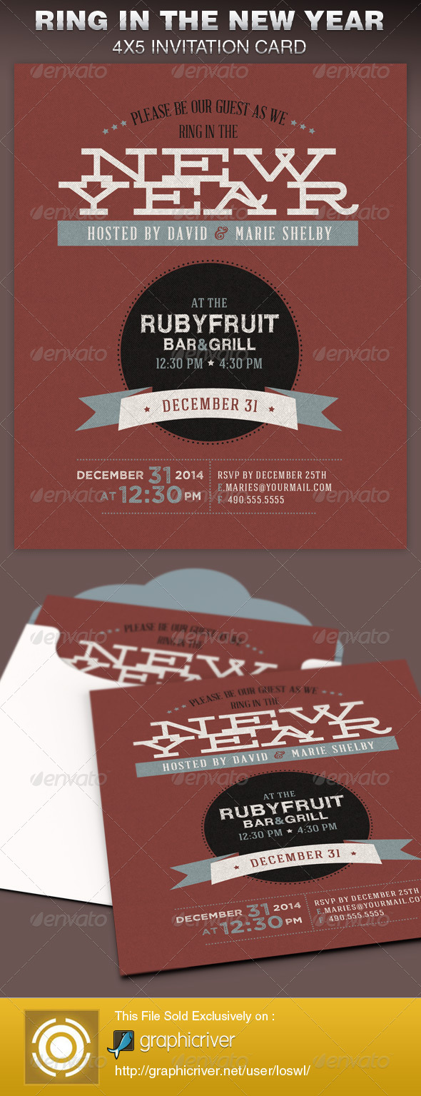 Ring in the New Year Party Invite Card Template - Cards & Invites Print Templates