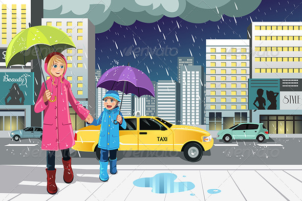 GraphicRiver Mother Daughter in the Rain 6390632