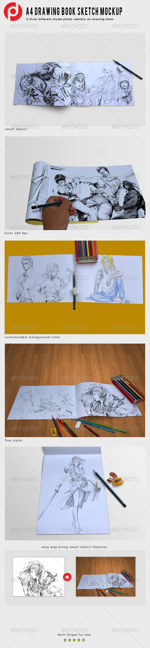 A4 Drawing Book Mockup