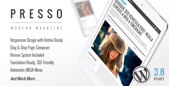 PRESSO - Clean & Modern Magazine Theme. Theme para wordpress para periodíco