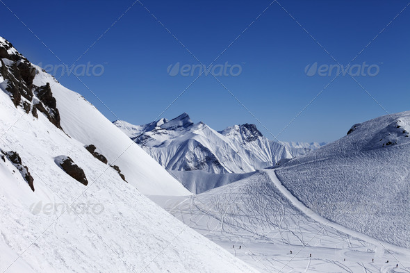 Top view on ski slope at nice sun day - Stock Photo - Images