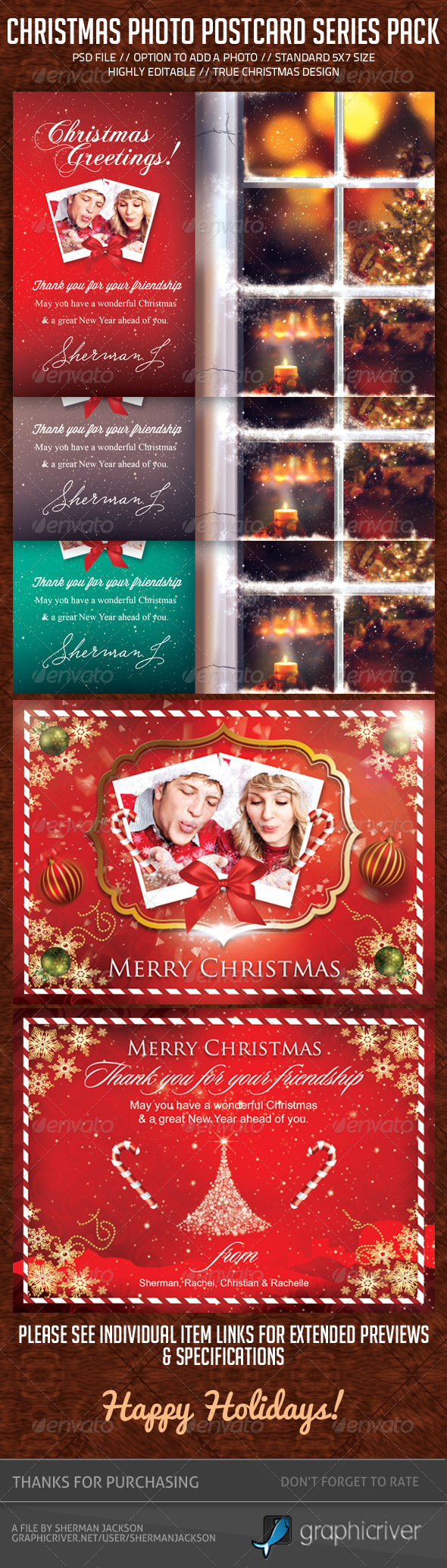 GraphicRiver Christmas Holidays Postcard Pack Bundle 6391279