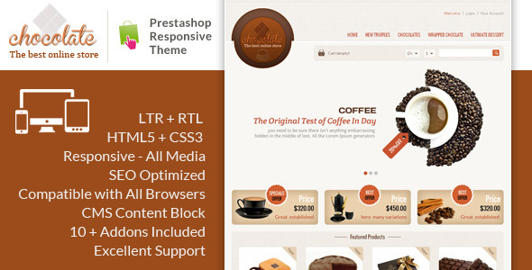 Chocolate - Prestashop Responsive Theme - PrestaShop eCommerce