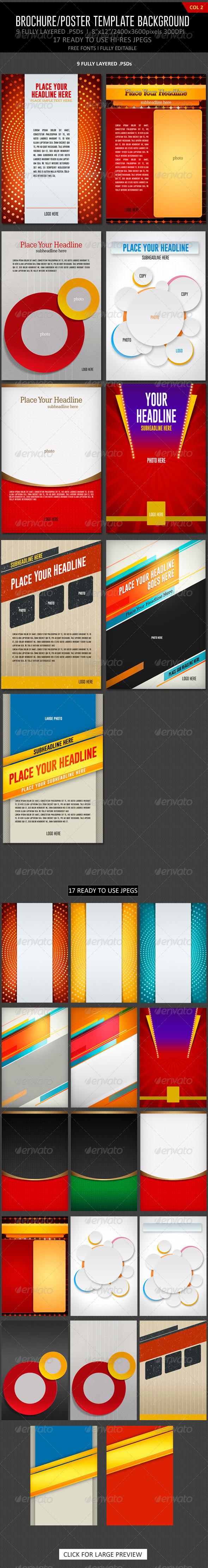Brochure/Poster template background Col2 - Backgrounds Graphics