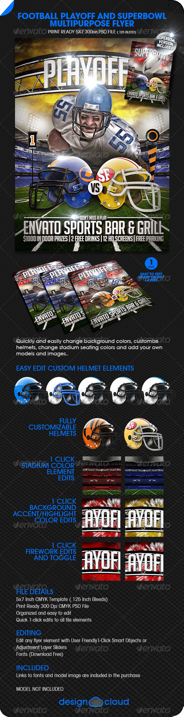 GraphicRiver Football Playoff and Superbowl Flyer 6392168