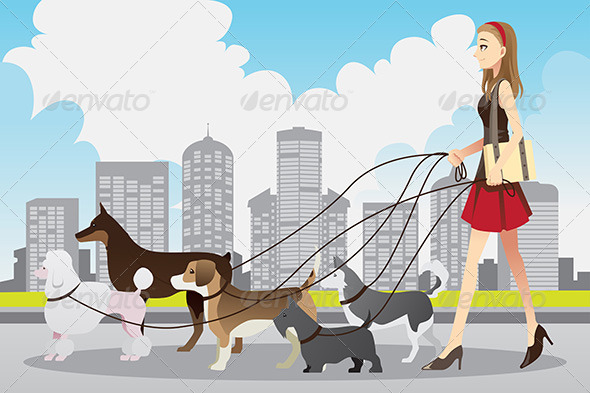 GraphicRiver Woman Walking Dogs 6392289