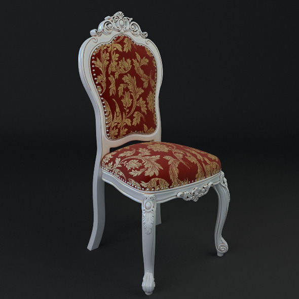 Antique Chair Brocade Armless - 3DOcean Item for Sale