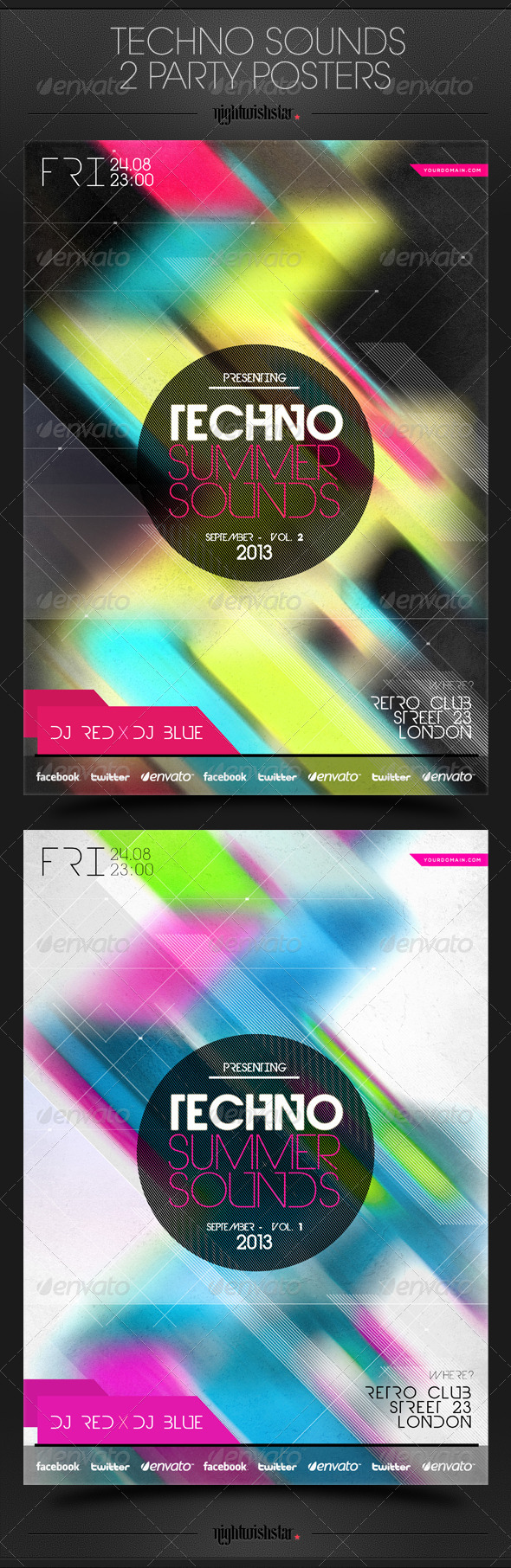 GraphicRiver Techno Sounds Party Poster 6394226