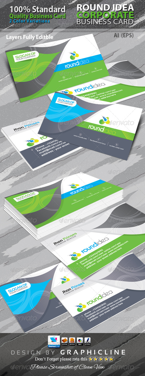 GraphicRiver Round Idea Corporate Business Card 6336166